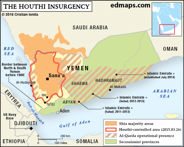 Geopolitics: The Yemeni Crisis In Five Maps. Houthi_insurgency (2015). Divided between the northerners and the southerners, Yemen is divided too between the Shia and the Sunni communities. The presence of a very active Al-Qaeda branch amplifies this religious fracture inside the society.