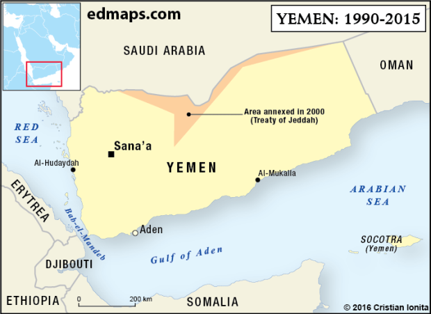 Geopolitics: The Yemeni Crisis In Five Maps. (1990_2015). In 1969, a radical Marxist party gained the power in South Yemen and the country became in 1970 a socialist state, named 'People's Democratic Republic of Yemen'. In 1972, the two Yemen's accepted the idea of a future political unification of the Yemeni nation (the Cairo Agreement). After a period of political and ideological tensions between the two states, in 1988 YAR and PDRY renewed discussions concerning the unification.