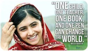 Malala Quote: One child, one book, and one pen can change the world.