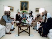 Ronald Reagan meets Afghan Mujahideen Commanders at the White House in 1985.