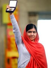 Malala Yousafzai, the 17-year-old Pakistani girl shot by the Taliban, awarded the 2014 Nobel peace Prize.