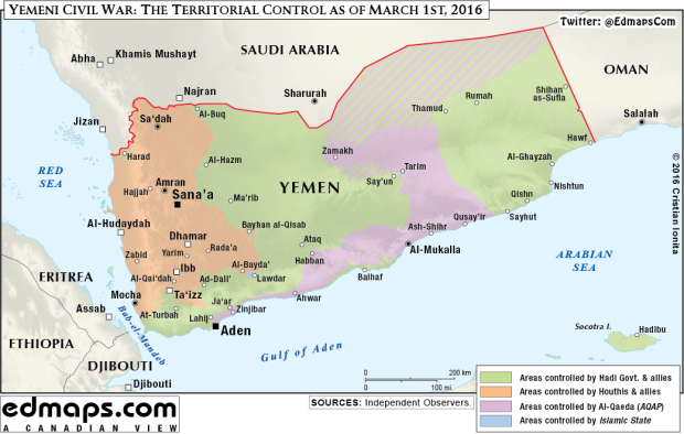 Geopolitics: Today's Yemen In One Map. Yemeni Civil War: The Territorial Control as of March 1st, 2016. In March, the Yemen's embattled president Hadi fled Yemen by sea and arrives in the Saudi capital, Riyadh, as Saudi Arabia and its allies launch military operations in Yemen to defend Hadi's government.