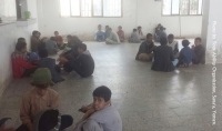 Yemen: Youth are sitting inside a room at one of the facilities converted to make-shift orphanages 2016.