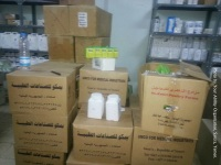 Yemen: Boxes of hospital supplies delivered by Your Ability staff 2016.