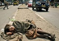 In India many children sleep in streets.