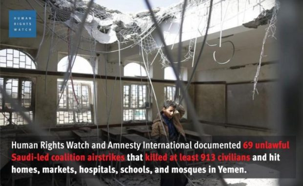 """The UN Panel of Experts on Yemen, established by UN Security Council Resolution 2140 (2013), in a report made public on January 26, 2016, """"documented 119 coalition sorties relating to violations"""" of the laws of war. The Office of the UN High Commissioner for Human Rights estimates that at least 3,539 civilians have been killed and 6,268 wounded since coalition military operations began. In March 2016, UN High Commissioner for Human Rights Zeid Ra'ad Al Hussein said the coalition was responsible for twice as many civilian casualties as other forces combined, according to OHCHR figures."""