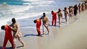 This undated image made from video released by Islamic State militants April 19, 2015, purports to show a group of captured Ethiopian Christians taken to a beach before being executed. (Photo: Reuters).