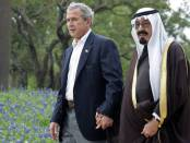U.S. President George W. Bush walks with Saudi Arabia's Crown Prince Abdullah (R) on his ranch in Crawford, Texasm in this April 25, 2005 file photo. [Saudi Arabia's Kind Fahd died on August 1, 2005 and Crown Prince Abdullah was swiftly pronounced monarch of the world's largest oil exporter and key U.S. ally. (Credit: Reuters/ Jason Reed).