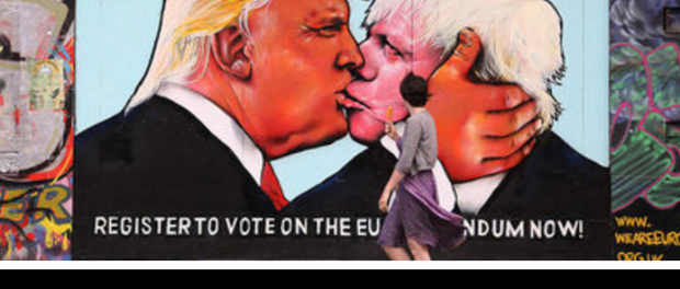 Painted on the side of a building in Bristol, southwest England - home of the celebrated graffiti artist Banksy - the image reprises a 1979 photograph of Soviet leader Leonid Brezhnev and East German President Erich Honecker kissing, which was later turned into a mural on the Berlin Wall.