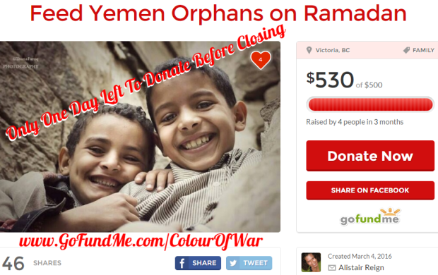 The Colour of War is happy to announce that our recent fundraising campaign for children in Yemen has successfully reached its goal - with only one day remaining to add your donation.
