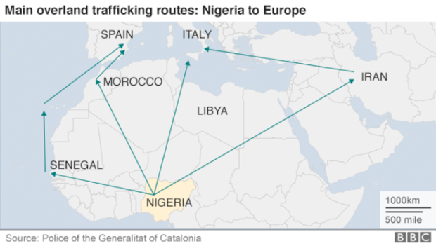 Map of the main overland trafficking routes: Nigeria to Europe.