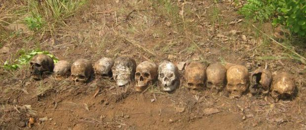 Twelve skulls discovered in a mass grave in February 2016 near a peacekeeping base in Boali, Central African Republic. The victims are believed to be individuals who were summarily executed by Republic of Congo peacekeepers on March 24, 2014. (Photo
