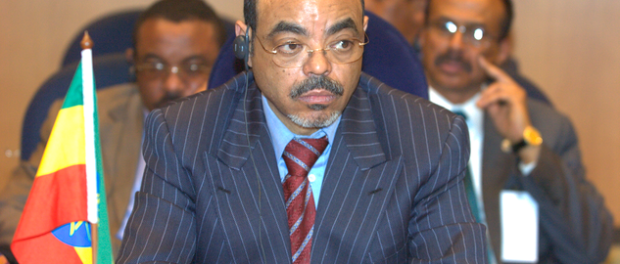 "Meles Zenawi, Ethiopia's original ""developmental autocrat"" and behind him (left), Hailemariam Desalegn, who would succeed him upon his death and has continued what critics say are bread-without-freedom growth policies. (Photo/Mail & Guardian Africa)."