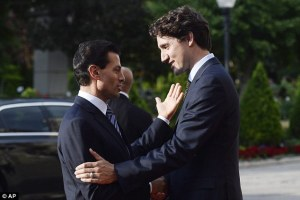 Mexican President Enrique Pena Nieto was greeted by Canadian Prime Minister Justin Trudeau after he arrived