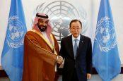 Saudi Arabian Deputy Crown Prince Mohammed bin Salman greets UN Secretary-General Ban Ki-moon at the UN headquarters in New York on June 22, 2016. (Photo: © 2016 Reuters).