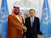 Saudi Arabian Deputy Crown Prince Mohammed bin Salman greets UN Secretary-General Ban Ki-moon at the UN headquarters in New York on June 22, 2016. (Photo: © 2016 Reuters).