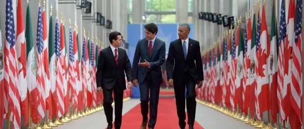 Prime Minister Justin Trudeau, (centre), Mexican President Enrique Peña Nieto, (left), and U.S.President Barack Obama, (right). (Photo: CBC).