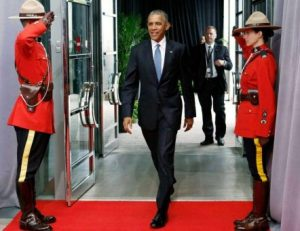 U.S. President Barack Obama arrives for the North American Leaders' Summit in Ottawa, Wednesday June 29, 2016. credit Fred Chartrand The Canadian Press via AP