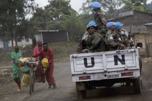 UN peacekeepers north of Goma in the Democratic Republic of the Congo. Reforms introduced over the past decade have failed to stamp out sex crimes by UN peacekeepers. Photograph: Yasuyoshi Chiba/AFP/Getty Images