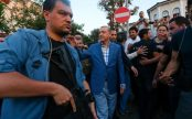 President Erdogan emerged on Saturday evening to address supporters who rallied near his home in Istanbul CREDIT: MURAD SEZER/REUTERS
