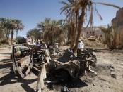 The remnants of a US drone strike on August 29, 2012 in Khashamir, Yemen. The strike killed three alleged members of Al-Qaeda in the Arabian Peninsula, a policeman, and a cleric who preached against the armed group.