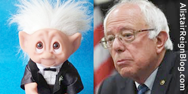 Sad-eyed Troll Man and Bernie Sanders:Which one is thinking about a delicious sandwich he ate back in 1939?