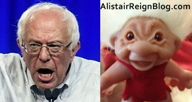 Bernie Sanders and angry Troll Doll: Which one is yelling at kids to get off his lawn?