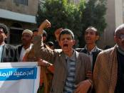 Yemeni blind men shout slogans during a demonstration gathering disabled people to protest after a center for the blind was reportedly destroyed by Saudi-led airstrikes in the capital Sanaa on January 6, 2016. (Photo: AFP /Getty).