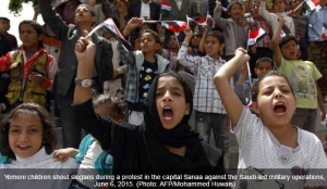 """Yemeni children protest for peace: Yemen's government has expressed doubts over UN-backed efforts to end its conflict with Shiite Huthi rebels who have seized control of large parts of the country. The government still has """"fundamental differences"""" with the Huthis over """"their rejection... of measures that are necessary to put an end to their plot"""", it said in a statement late on Friday."""