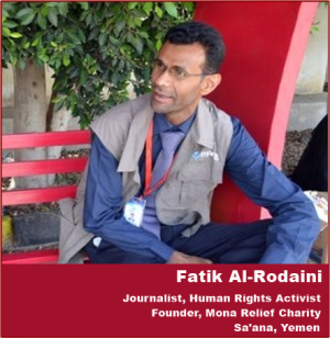 Mona Relief was founded by Yemeni journalist and activist, Fatik Al-Rodaini.