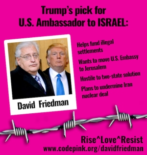 Friedman's appointment would signal a break with decades of U.S. foreign policy criticizing settlement expansion and maintaining at least the appearance of support for a just and peaceful solution to the conflict